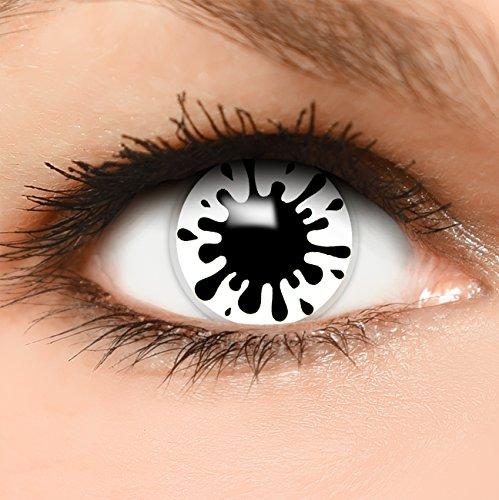 Farbige Kontaktlinsen Splash in weiß + Behälter - Top Linsenfinder Markenqualität, 1Paar (2 Stück) - Splash Top