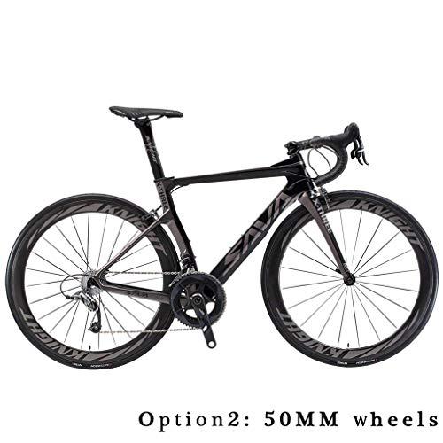 Carbon Rennrad,SAVADECK Phantom3.0 700C Rennrad Kohlefaser Rennräder Fahrrad Shimano Ultegra 8000 22 Speed Group Set mit Michelin 700C*25C Reifen und Fizik Sattel (48cm, Grau) - Rennrad 48cm