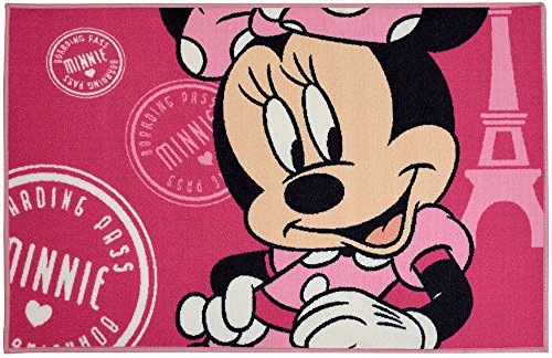 Unbekannt Fun House Disney Minnie Teppich für Kinder, Polyamid/SBR,/Latex und Gummi, 120x 80x 0,5cm - Wieder Gummi Teppich Läufer
