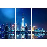 ArtzFolio Night Shanghai Skyline with Reflection, China Split Art Painting Panel On Sunboard 36 X...