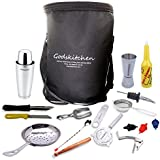 Godskitchen 18 - Piece Stainless Steel Bar Tools Kit With Shaking Tins, Flat Bottle Opener, Double Cocktail Jigger, Hawthorne Strainer, Bar Spoon, 3 Pour Spouts Etc.