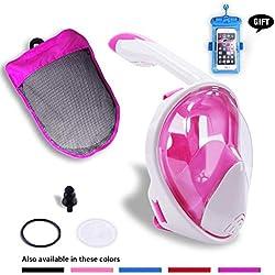 SWM Masque Complet de plongée en apnée Vue panoramique à 180 ° Pliable Masque de plongée Anti-buée Anti-Fuite avec Support pour Appareil Photo de Sport Amovible pour Adultes, Enfants,Pink,L/XL