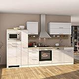 Pharao24 Küche mit E-Geräten Weiß Hochglanz (14-teilig)