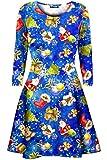 Fashion Star Oops Outlet Womens Ladies Christmas Xmas Santa Gingerbread Reindeer Mini Smock Swing Dress