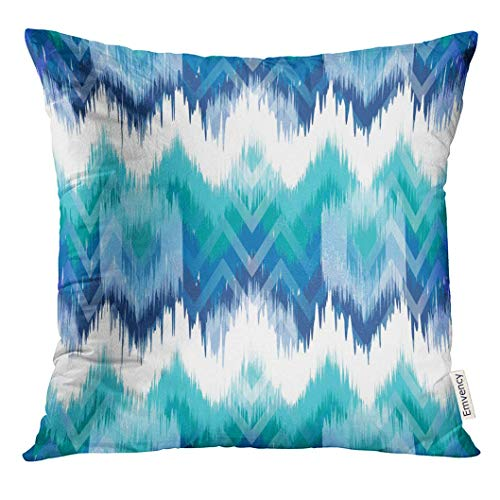 ink Zigzag Abstract Ethnic Ikat Pattern Traditional on The in Indonesia Asian Countries Indian Decorative Pillow Case Home Decor Square 18x18 Inches Pillowcase ()