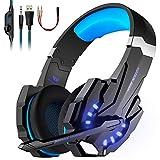 Tsing Casque Gaming PS4, Casque de jeu PS4, Casque PC Bass Anti-Bruit LED lumière avec 3.5mm Connecteur, Casque micro compatible pour PC / Xbox One / Nintendo / téléphone / tablette, bleu