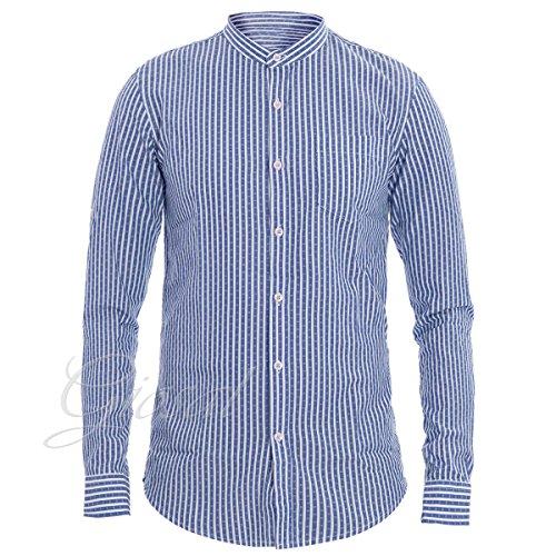 Giosal camicia uomo slim righe blu bianco collo coreano taschino c1363a-m