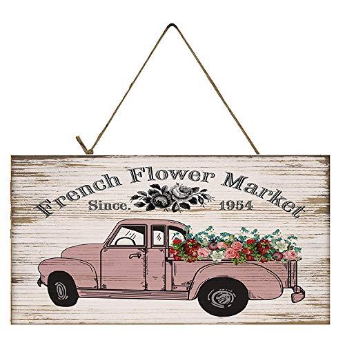 Brosfeson Französischer Blumenmarkt Vintage Truck Schild - 15,2 x 30,5 cm (Vintage Französisch Türen)