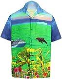 *La Leela* ort Manches Aloha Chemises hawaïennes Thème pour Les Hommes drt052 230 4XL Bleu Vif