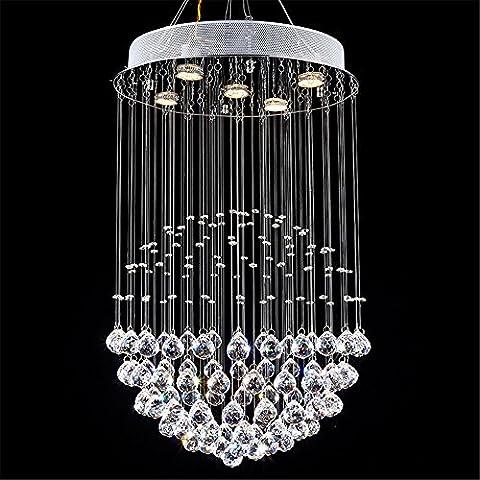 Modern Staircase Led Crystal Chandeliers Lighting Fixture For Hotel Lobby Foyer Ball Shape Rain Drop Pendant Lamp,Diameter -600Height -800Mm 7Led Christmas Thanksgiving Wedding Birthday