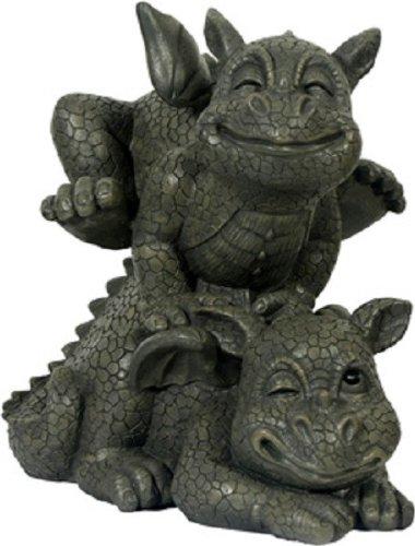 Dekoration Gartenfigur zwei kleine Drachen bockspringend ca. 23 x 26 cm aus Kunststoff Polyresin Wetterfest für Aussen geeignet