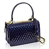 Valentino Orlandi Italian Designer Blue Quilted Leather Purse Top Handle Bag