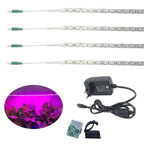 Luxvista 5W LED Pflanzen Licht Streifen Wasserdicht IP65 600MM Wachsen flexibles Streifen-Licht-Satz 12V Rot Blau 3: 1 volles Spectrum Pflanzenlicht mit 2A Adapter für Gartengewächshaus blühende Pflanze Hydroponiksystem (4-Stück)