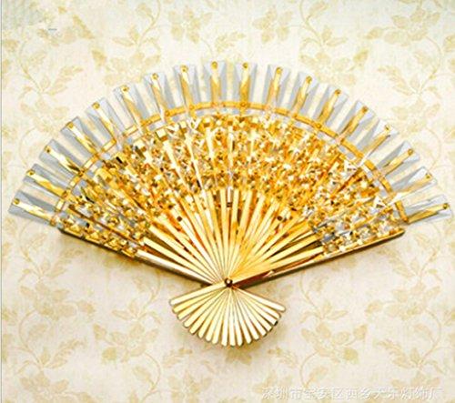 Einfach, modern, Gold, Fan, Sub-Kristall, Wandleuchte, kreativ, Kunst, Bett, Wandleuchte, Wohnzimmer, Wandleuchte