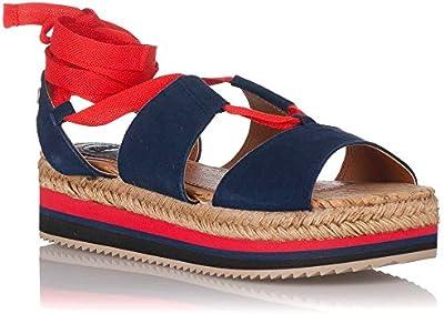 Sandalias - Alpargatas con Plataforma. Gioseppo Carlota Azul y Rojo