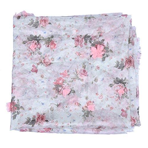 Hongma 1 Yard Chiffon Stoff mit 3D Blumen Muster Hellgrün Rosa Himmelblau Nähen für Brautkleid...