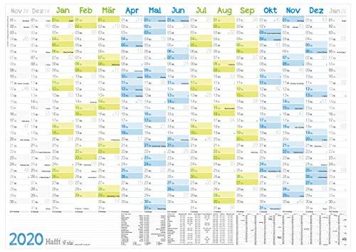 Wandkalender 2020 groß: 89 cm x 63 cm (größer als A1) für 15 Monate Nov 2019 - Jan 2021  gefalzter Wandplaner mit Ferien- und Feiertage-Übersicht, FSC®-Papier + extra A4-Kalender