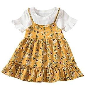 Battnot Mädchen Kleinkind Scherzt Kinder Baby Sommer Kleid Kurzarm Fliegen-Hülsen mit Rüschen Besetzte Blumen-Druck…