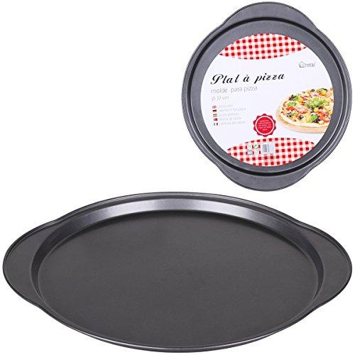 Promobo - Grand Plat De Cuisson Pour Pizza Forme Rond En Métal Anti-adhérent 37cm