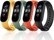 Monuary Straps for Xiaomi Mi Band 5, Colourful Replacement Bracelet in Anti-Lost Silicone Designed Fitness Tra