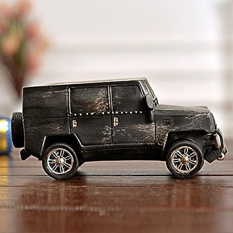 CinCin Vintage antiguo de hierro de lata coche clásico modelo Jeep modelo decoración casera