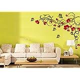 2 pezzi tatuaggio parete Adesivo adesivi murali soggiorno camera da letto dei bambini CUCINA 30 colori per la selezione di fiori di vite farfalla farfalle wpf13(070 nero, size1:ca.60 x48cm