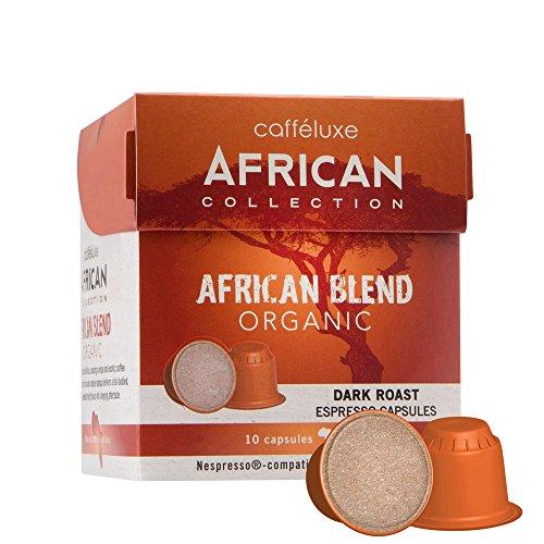 Caffeluxe African Collection Bio kompostierbare Nespresso kompatible Kaffee Kapseln Espresso dunkle Röstung African Blend 10 oder 60 Stück (60) - Röstung Bio Dunkle Kaffee-bohnen