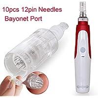 Aozzy eléctrico automático Derma Pen Micro AgujasTerapia Antienvejecimiento Uso en el hogar Micro Needle 0.25mm-2.0mm ajustable con 10 piezas de 12 agujas cartucho