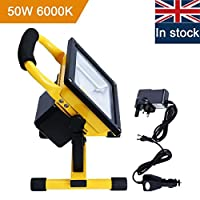 Rechargeable LED Light, URPIRE Portable Bright Day White Outdoor Flood Light, IP65 Waterproof Camping Traveling Emergency Hand Work Lamp (Adapter and Car Charger Included) from URPIRE