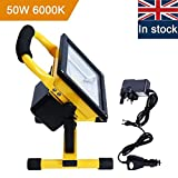 Rechargeable LED Work Light, URPIRE 4000lm 50W Portable Bright Day White Floodlight, IP65 Waterproof Camping Traveling Outdoor Emergency Hand Work Lamp (Adapter and Car Charger Included)