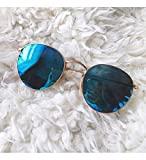 #5: Sheomy Fashion Wayfarer Goggle And Sunglasses Ideal For Men Women Boys And Girls (Golden Rubber Stick Blue Mercury Square Wayfarer),Set Of 2