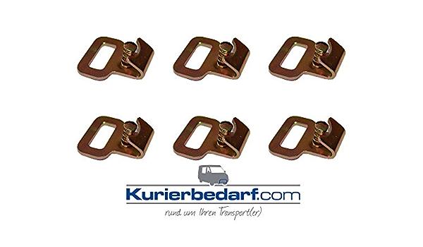 6x Flachhaken Mit Gefedertem Sicherungsstift Z B Für Stäbchen Zurrschiene Auto