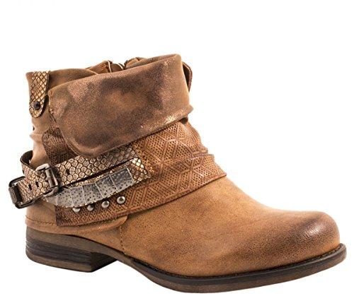 Elara Mujer Biker Boots | Metallic Prints Hebillas | Aspecto de Piel Remaches Botines | Forrado, Color, Talla 36 EU