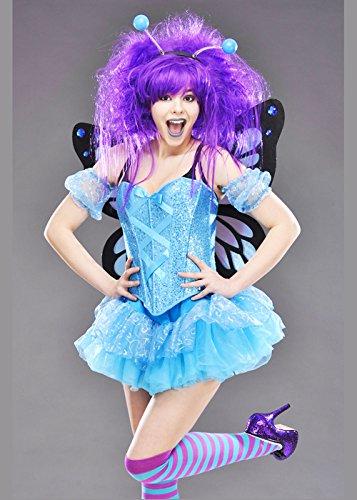 Damen Deluxe Blau Pailletten Schmetterling Kostüm S (UK 8-10)