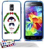 GENUINE Extra-Slim flexible Blue Case Penguin By MUZZANO for GALAXY S5 MINI + 3 UltraClear Screen protector