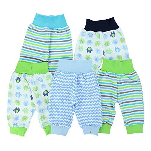 Baby-Hose Pumphose Basic Schlupfhose Jungen 100% Baumwolle Jersey Mädchen Sommerhose im 5er Pack, Farbe: Junge, Größe: 86