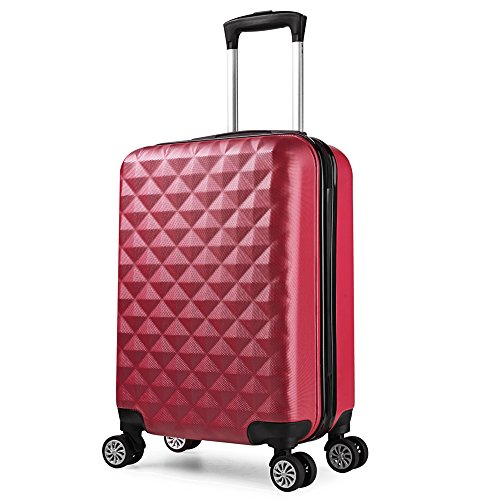 Valise cabine 55 cm ABS bagage cabine rigide 4 roues avion ryanair 4 couleurs 40L(Rouge)