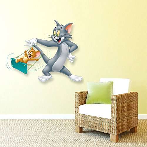 Wall Stickers Tom and Jerry Swings Design (Cover Area:- 27 X 23 inch)