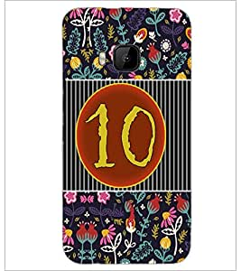 PrintDhaba Numerology Number 10 D-3097 Back Case Cover for HTC ONE M9 (Multi-Coloured)