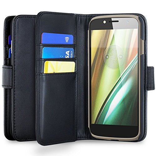 Olixar Motorola Moto E5 Wallet Case - PU Faux Leather - Slim Protective Cover - Card Storage Slots and Built In Media Viewing Stand Leather Style - Black -