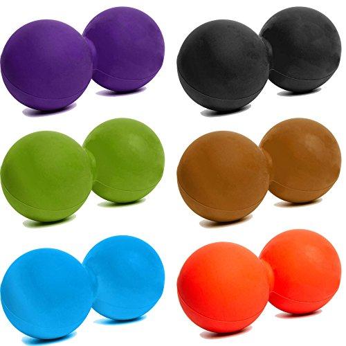 Pelota para masaje »Globo« / Twin Ball / Rodillo para masaje miofascial para conseguir un automasaje efectivo / naranja