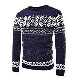 Heflashor Herren Winter Strickpullover Rundhals mit Schneeflocken Drucken Warm Weihnachtspullover Slim Fit Langarm Christmas Sweatshirt Pulli