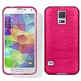 [ 2er Pack Set Hülle + Folie ] Samsung Galaxy S5 Mini Panzerglas Displayschutzfolie, Schutzcover Bumper, Handyhülle aus Silikon Cover Rückschale Pink, Samsung Galaxy S5 Mini (4,5 Zoll (11,4 cm)