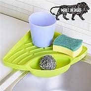 PRAMUKH FASHION Kitchen Sink Corner Wash Basin Sponge Soap Scrub Brush Storage Holder Rack with Suction Cup, G