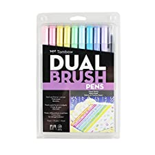 Tombow-Dual Brush Pen Set. These Dual Brush Pens Have A Versatile And Flexible Nylon Fiber Brush Tip On One End That Creates Medium Or Bold Strokes By Simply Changing Brush Pressure. The Fine Tip On The Other End Is For Smooth Straight Lines Or Writi...