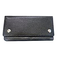 Soft Black Cowhide Leather Tobacco Pouch with Linen lining and push buttons - Holds 50g