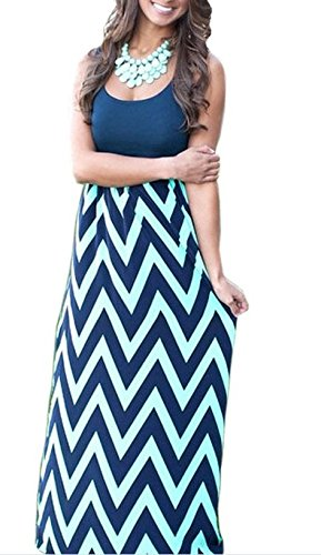 OMZIN Womens Wave gestreiften Tank Maxi lange Boho Empire Chevron Kleider Navy Blue XL (Blue Navy Womens Strass)
