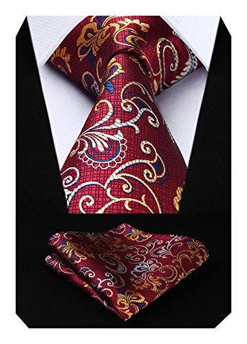 Hisdern Herren Krawatte Paisley Blumen Hochzeit Krawatte & Einstecktuch Set Burgund und Gelb
