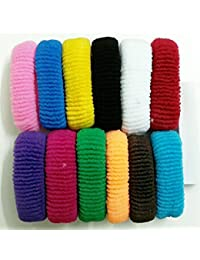 FOK Set Of 30 Pcs Effortless Multicolor Elastic Cotton Stretch Hair Ties Bands Headband Durable Hair accessories Ponytail Holder No Snagging Or Stretching Rubber Bands