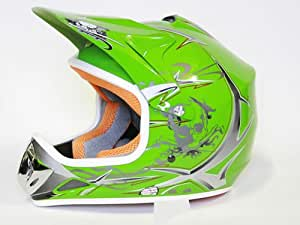 Helm Kinderhelm Motorradhelm Crosshelm Motocrosshelm Sport Grün M
